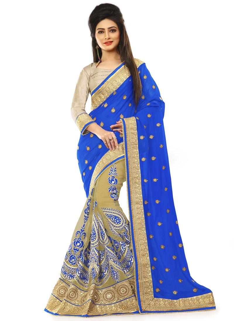 Amusing Patch Border Work Blue Color Half N Half Wedding Saree
