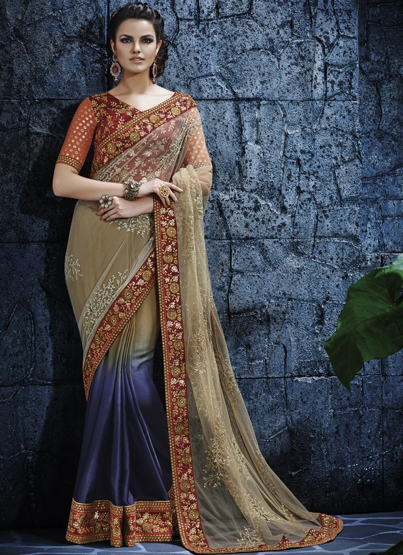 Amusing Patch Border Work Half N Half Wedding Saree
