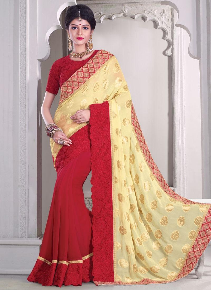 Amusing Patch Border Work Viscose Half N Half Designer Saree
