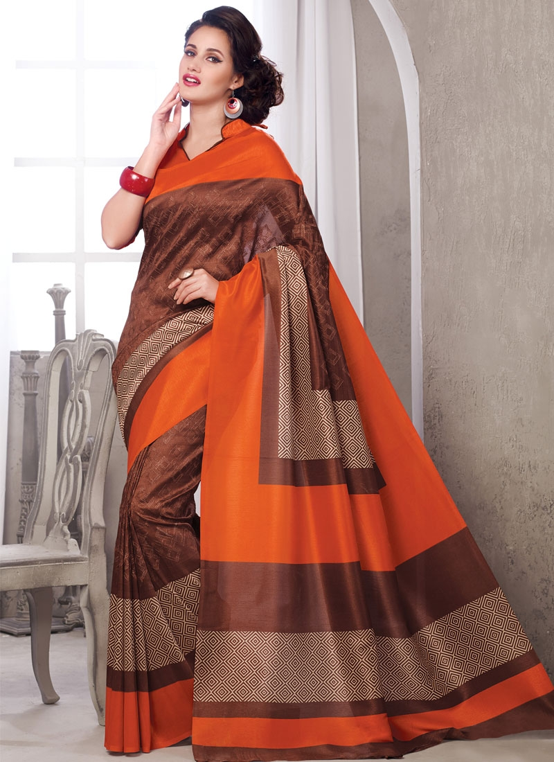 Amusing Printed Art Silk Casual Saree