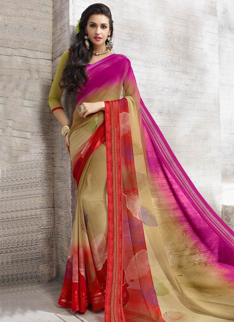 Amusing Printed Faux Georgette Casual Saree