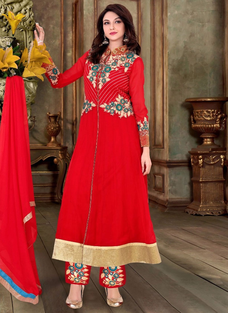 Amusing Red Color Pant Style Party Wear Salwar Suit