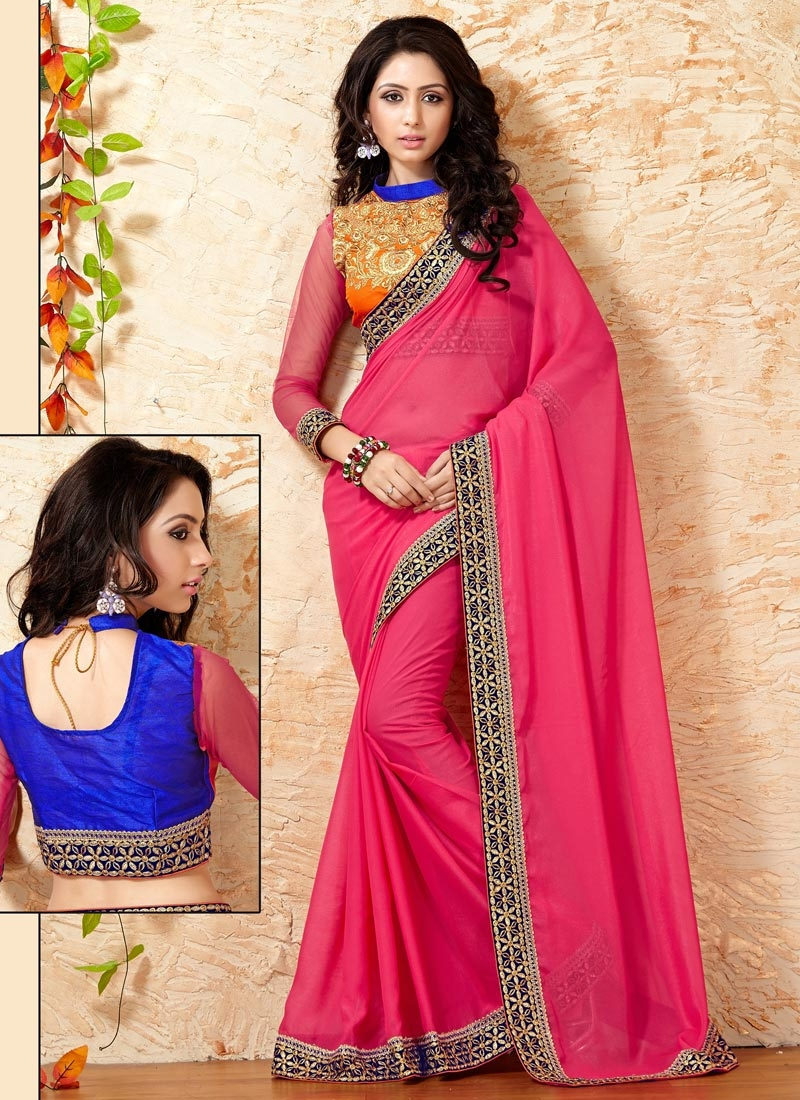 Amusing Rose Pink Color Party Wear Saree