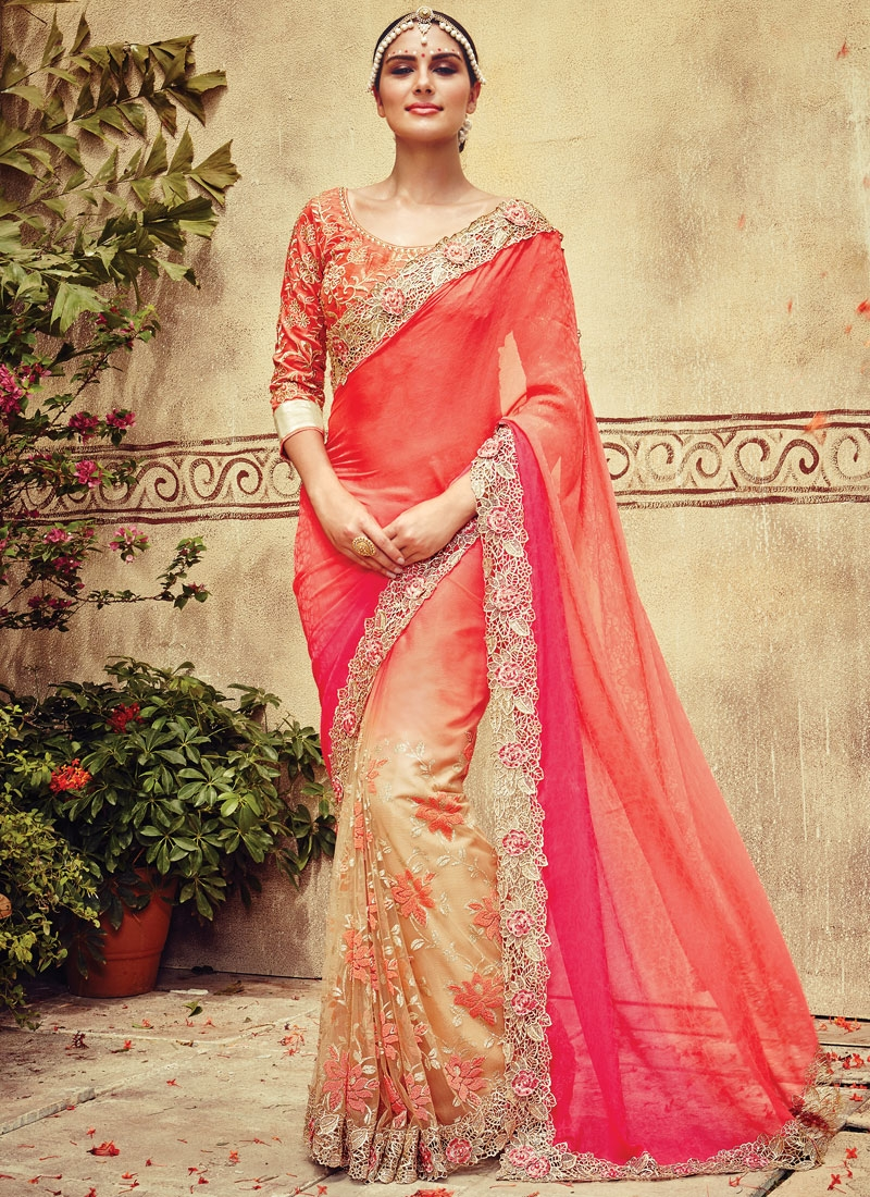 Amusing Stone Work Net Half N Half Bridal Saree