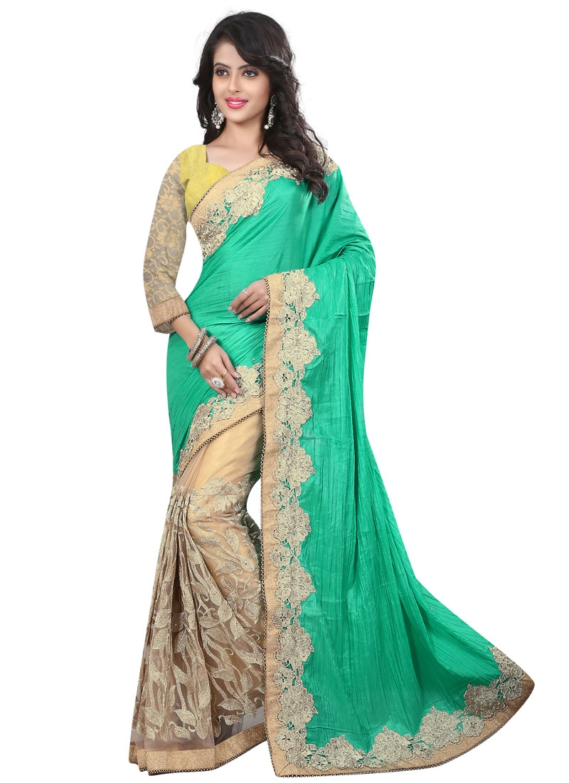 Amusing Turquoise Color Crush Half N Half Wedding Saree