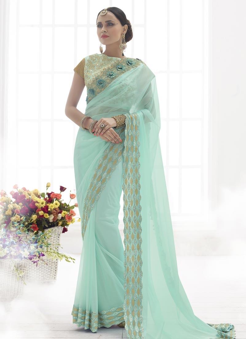 Amusing Turquoise Color Net Designer Saree