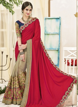Angelic Beige and Red Embroidered Work Designer Half N Half Saree For Festival