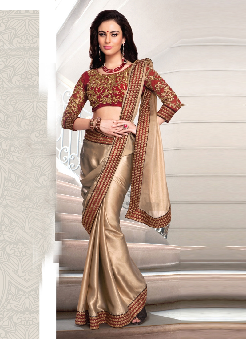 Angelic Beige Color Georgette Party Wear Saree