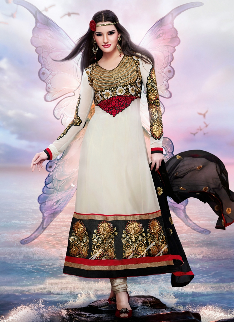 Angelic Black And Cream Color Party Wear Suit