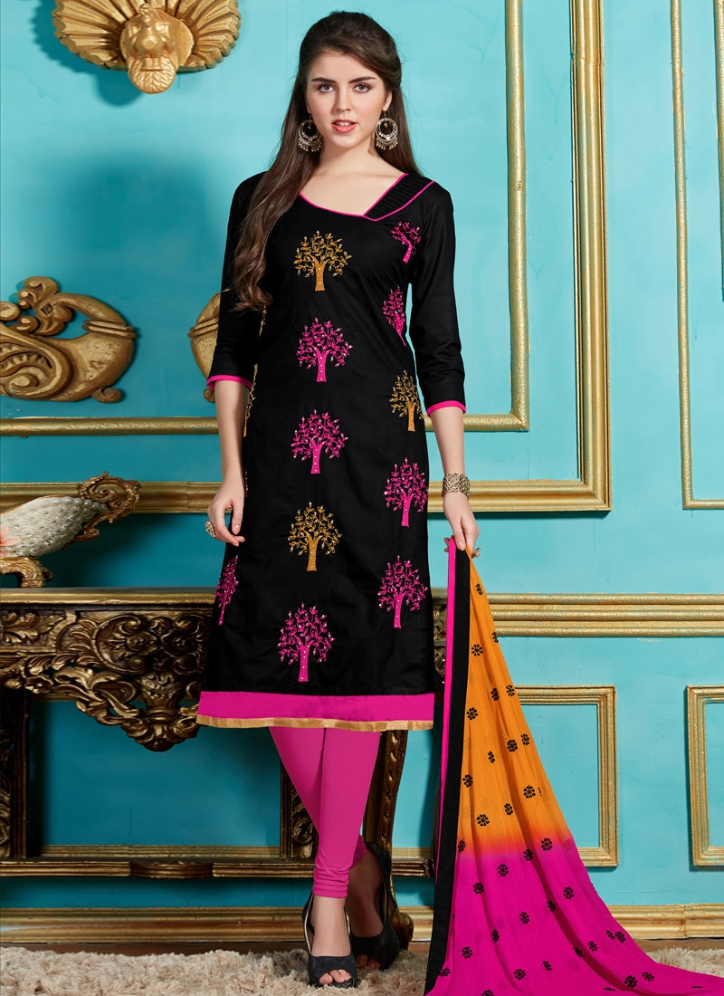 Angelic Black And Rose Pink Color Casual Suit
