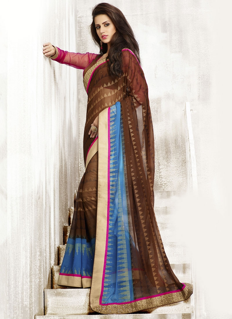 Angelic Brown And Light Blue Color Casual Saree