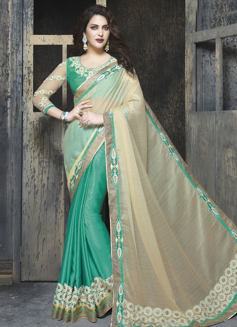 Angelic Cream And Turquoise Color Half N Half Wedding Saree