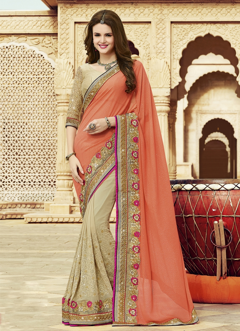 Angelic Jaal And Resham Work Half N Half Designer Saree