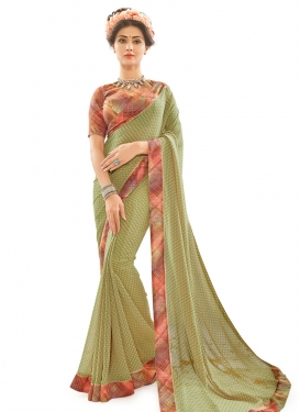 Angelic Mint Green and Olive Lace Work Trendy Classic Saree
