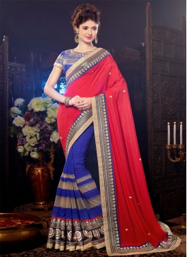 Angelic Multi And Patch Work Half N Half Designer Saree