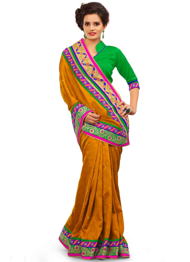 Angelic Mustard Color Lace Work Party Wear Saree