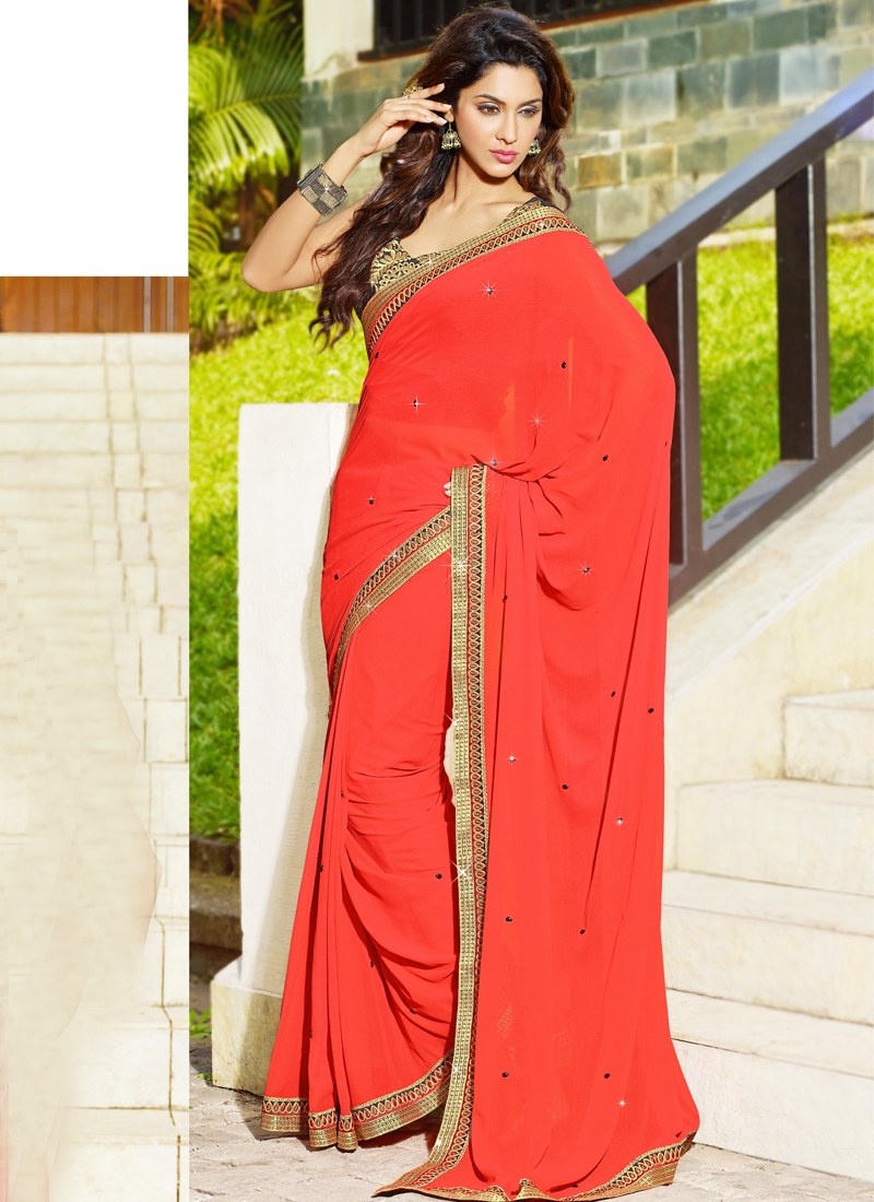 Angelic Red Georgette Casual Saree