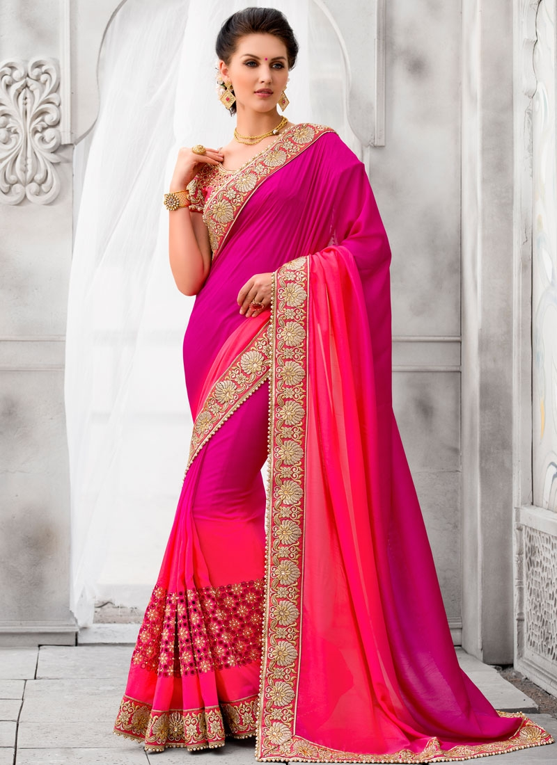Angelic Rose Pink Color Lace Work Designer Saree