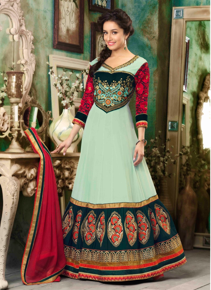 Angelic Stone And Lace Work Anarkali Salwar Suit