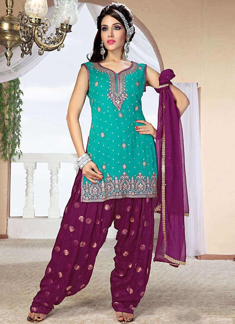 Angelic Turquoise Faux Georgette Patiala Suit
