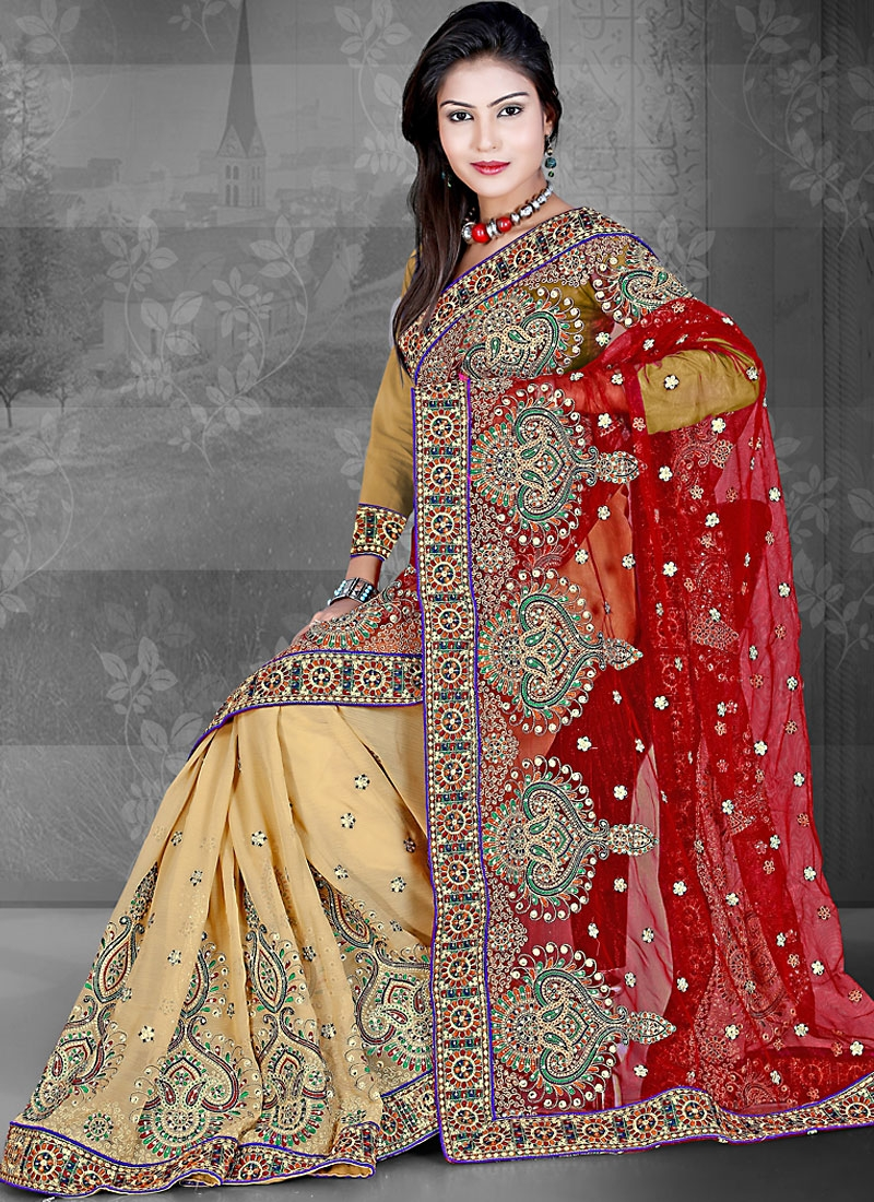 Appealing Beige And Red Chiffon Saree