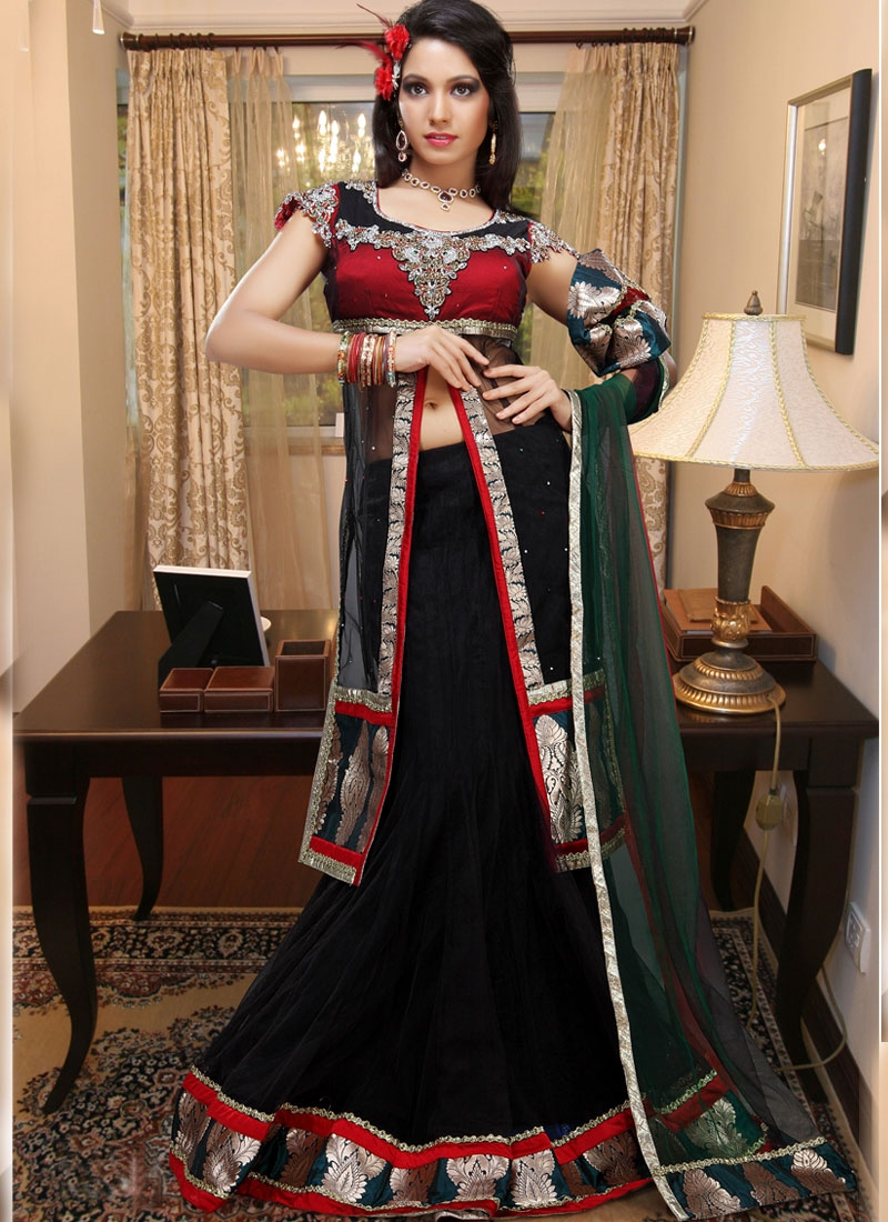Appealing Black And Red Georgette Lehenga Choli