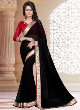 Appealing Black Color Resham Work Casual Saree