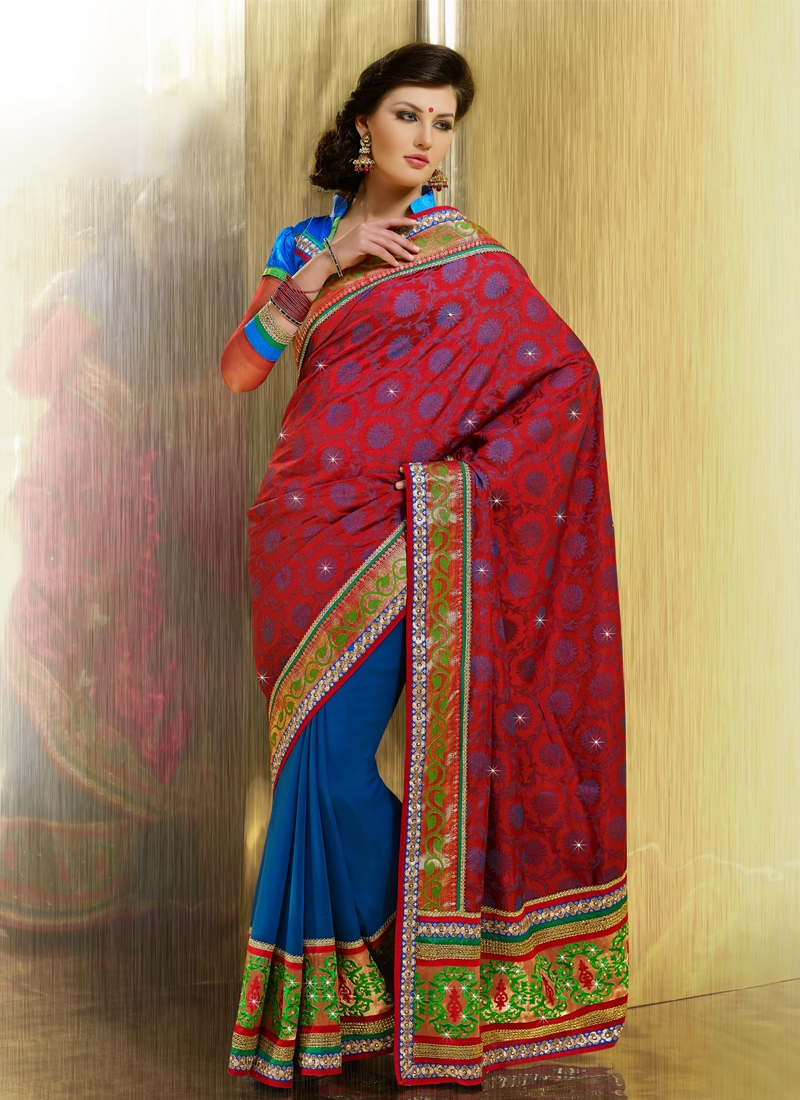 Appealing Blue And Red Color Half N Half Saree