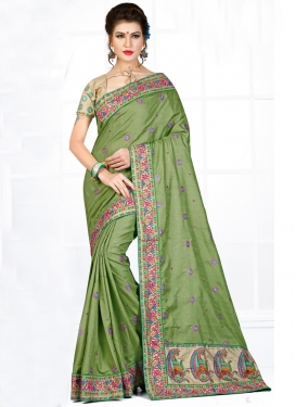 Appealing Booti Work Manipuri Silk Trendy Saree