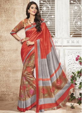Appealing  Brown and Grey Art Silk Print Work Trendy Saree