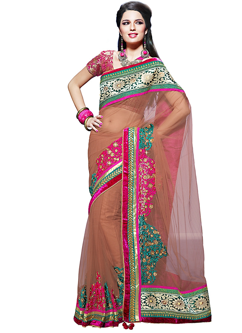 Appealing Brown And Magenta Net Saree