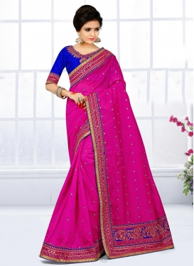 Appealing  Chanderi Silk Contemporary Style Saree For Ceremonial