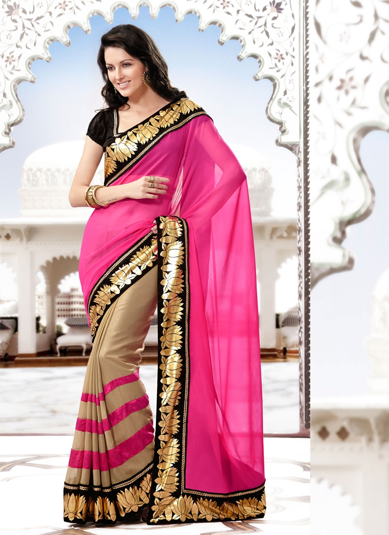 Appealing Chiffon And Georgette Half N Half Saree