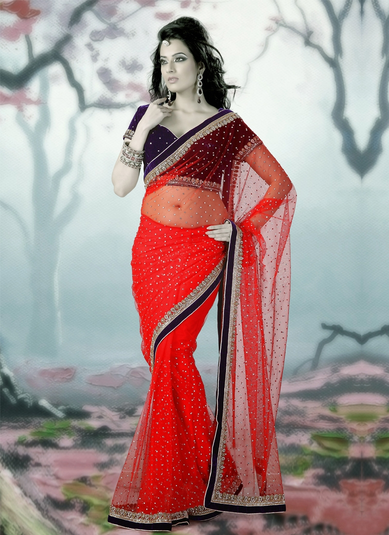 Appealing Coral Color Cutdana Work Bridal Saree