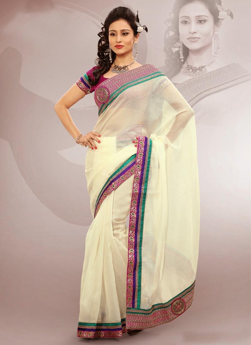Appealing Cream Color Resham Work Casual Saree