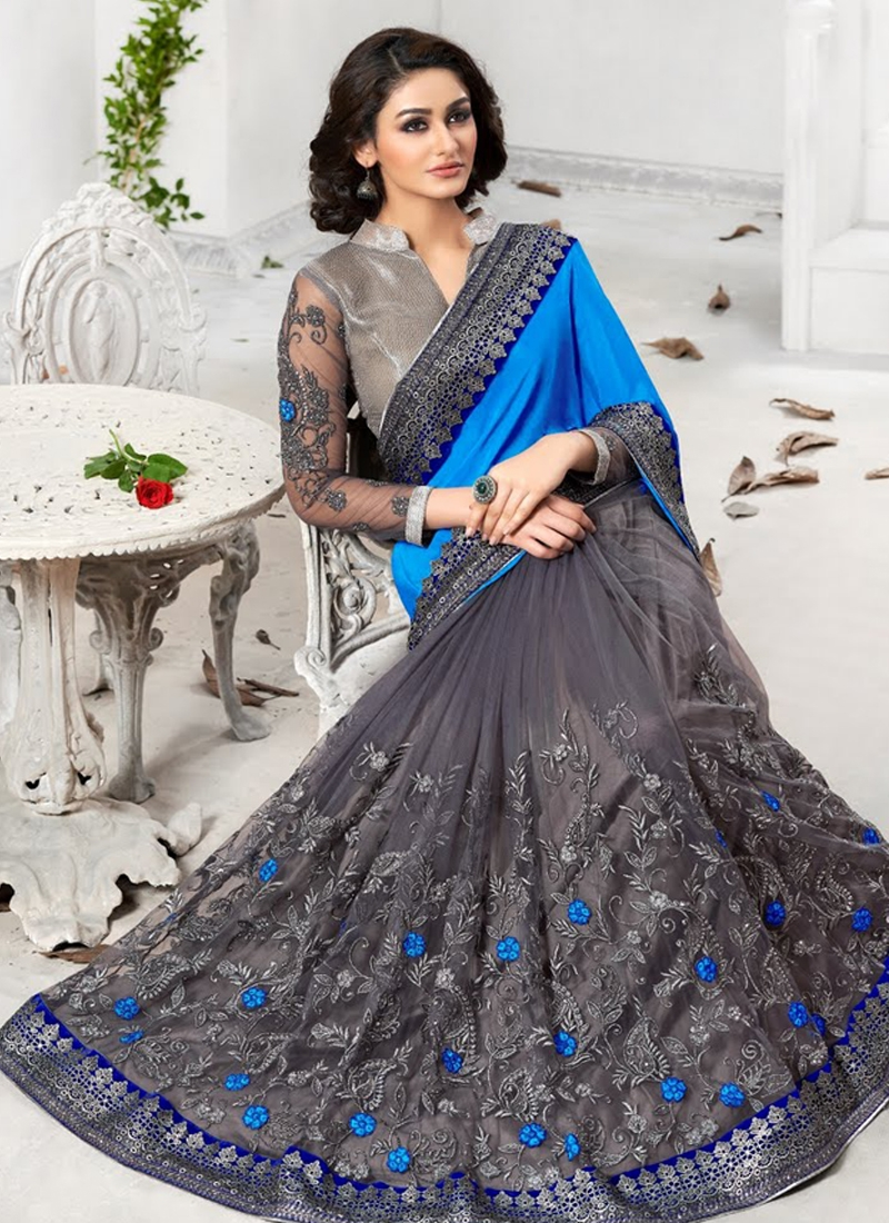 Appealing Embroidery Work Half N Half Designer Saree