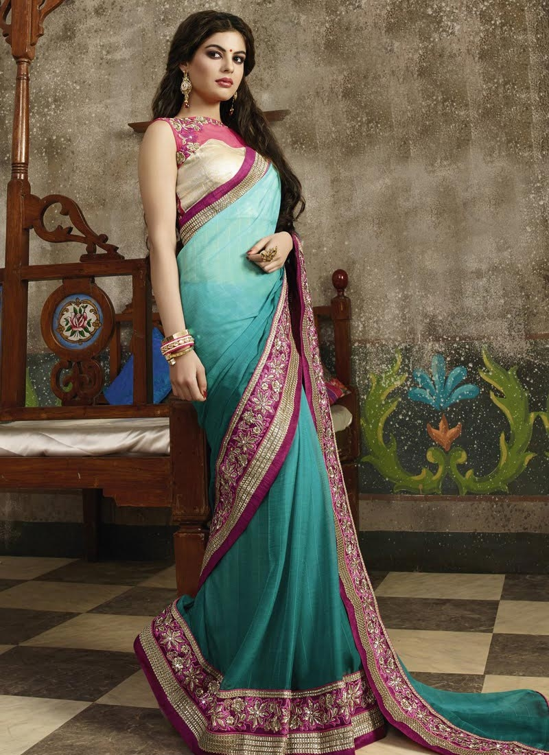 Appealing Fancy Fabric Teal Color Party Wear Saree