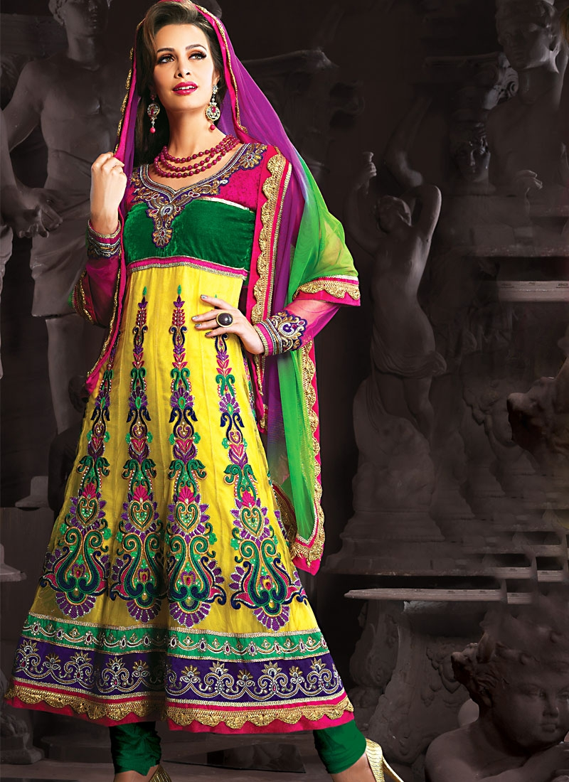 Appealing Gold And Sea Green Anarkali Suit