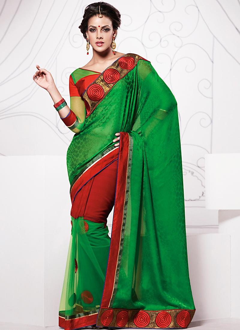 Appealing Green Half N Half Saree
