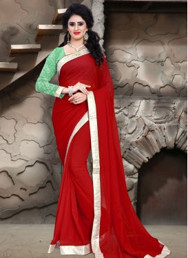 Appealing Lace Work Red Color Casual Saree