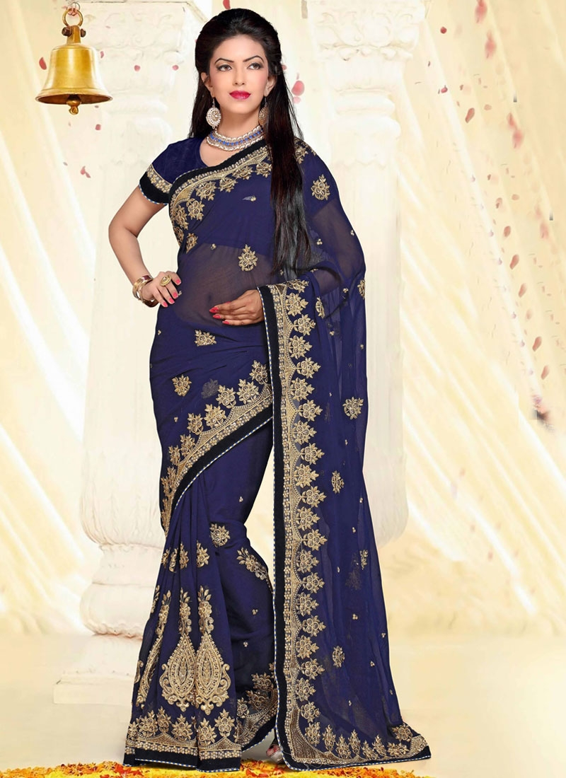 Appealing Navy Blue Color Booti Work Designer Saree