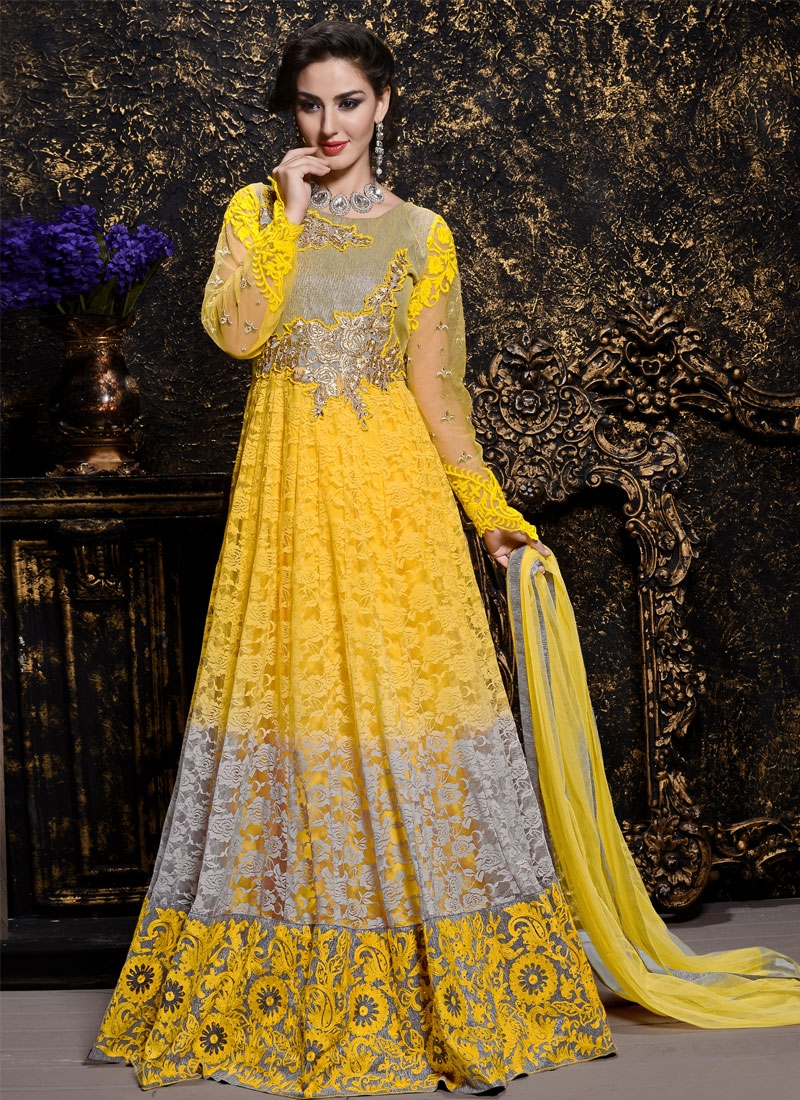 Appealing Net Brasso Long Length Anarkali Suit