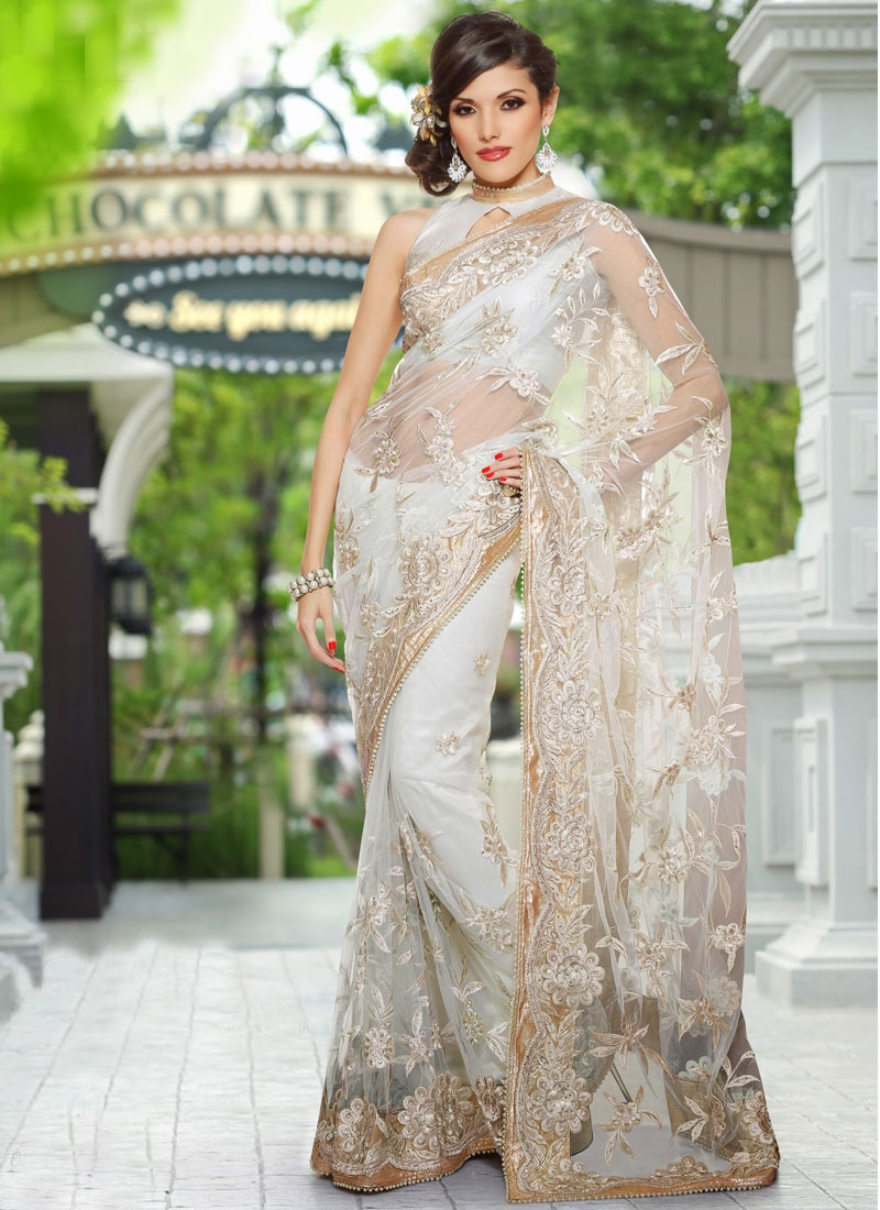 Appealing Off White Floral Net Saree