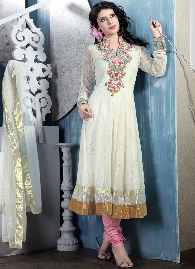 Appealing Off White  Jacquard Salwar Kameez