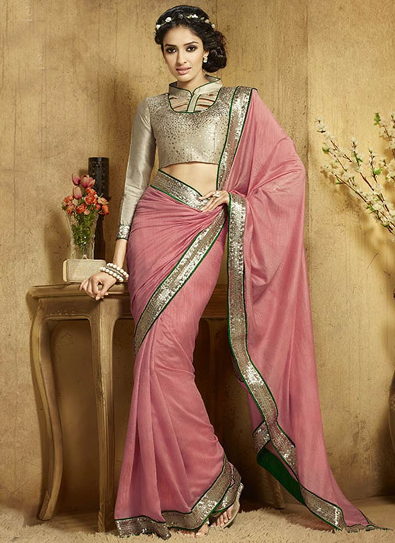 Appealing Sequins Work Salmon Color Party Wear Saree
