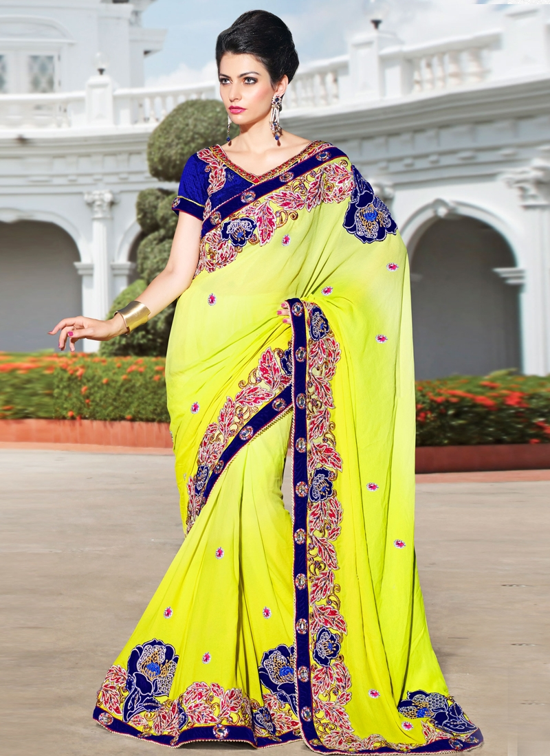 Appealing Yellow Shaded Party Wear Saree