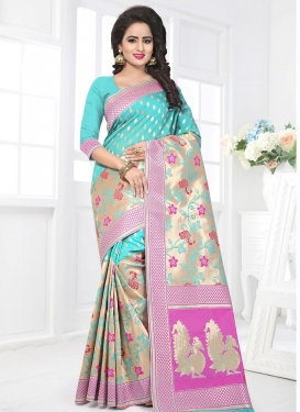 Aqua Blue and Beige  Banarasi Silk Contemporary Style Saree