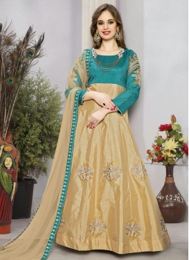 Aqua Blue and Beige Booti Work Long Length Anarkali Salwar Suit