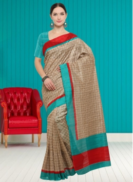 Aqua Blue and Beige Embroidered Work Trendy Classic Saree