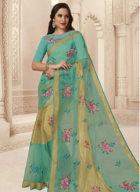 Aqua Blue and Beige Embroidered Work Trendy Saree